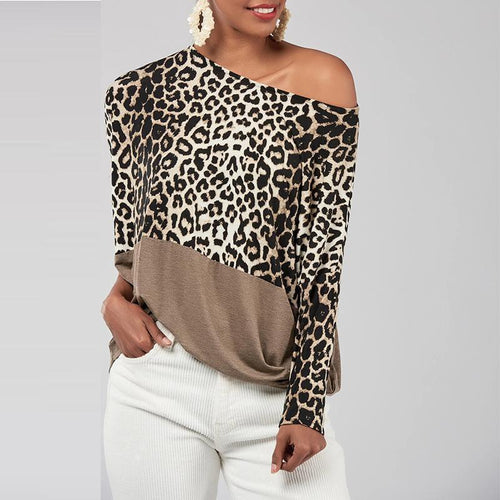 Oblique Collar Leopard Printed Patchwork Batwing Sleeve T-Shirts