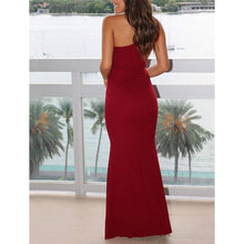 Load image into Gallery viewer, Oblique Shoulder Sleeveless Off-Waist Fishtail Evening Dress