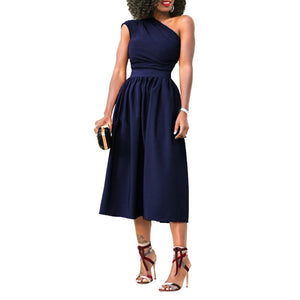 Oblique Shoulder Sleeveless Solid Color Expansion Evening Dress