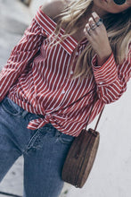 Load image into Gallery viewer, One Shoulder  Single Breasted  Striped  Blouses