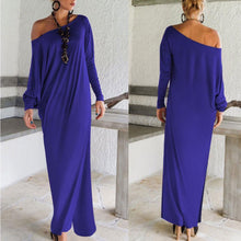 Load image into Gallery viewer, One Shoulder Slit Long Sleeve Maxi Dresses