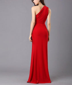 One-Shoulder Split Evening Dress