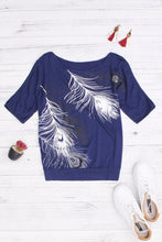 Load image into Gallery viewer, Open Shoulder  Cutout  Printed T-Shirts