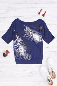 Open Shoulder  Cutout  Printed T-Shirts