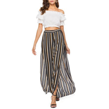 Load image into Gallery viewer, Chiffon Split Elastic Striped Vacation Pants