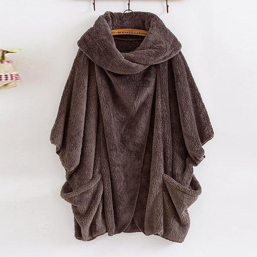 Lapel Plain Pocket Loose Fashion Coats