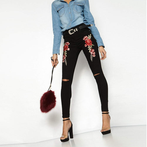 Casual Slim Rose Inwrought Pencil Pants
