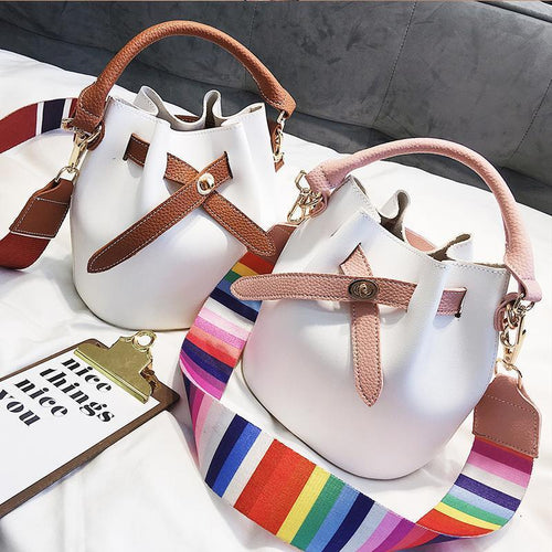 Fashion Color Block Hand One Shoulder Bucket Bag