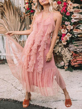 Load image into Gallery viewer, Sexy Pink Sleeveless Halter Neck Maxi Dress