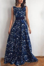 Load image into Gallery viewer, Print Halter Evening Dress With Belt