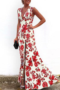 Sexy V-Neck Vintage Red Printed Floral Evening Dress