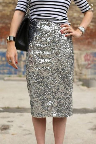 Elegant Business Paillette Bodycon Skirt