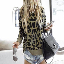 Load image into Gallery viewer, Fashion Round Collar Leopard Printed Hoodie