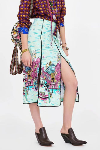 Sexy Print High Waist Slim Fork Long Skirt