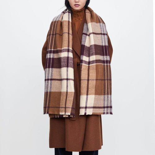 Fashion Casual Thermal Plaid Rectangle Scarf
