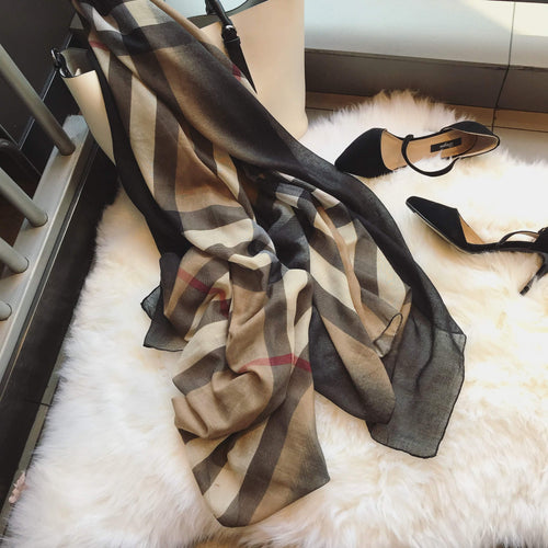 Fashion Color Block Plaid Korean Style Tippet Scarf