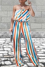 Load image into Gallery viewer, Sexy Colorful Ruffle Trim Tube Striped Jumpsuits