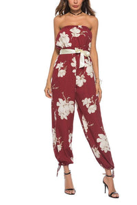 Sexy Floral Printed Defined Waist Jumpsuit
