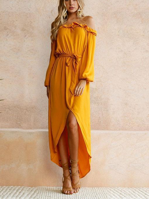 Sexy Off Shoulder Slit Flouncing Maxi Dress