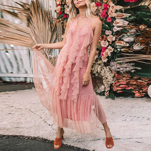 Sexy Pink Sleeveless Halter Neck Maxi Dress