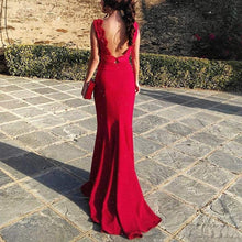 Load image into Gallery viewer, Sexy Red Long Sleeves Evening Dress Fishtail Maxi Dress