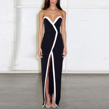 Load image into Gallery viewer, Sexy Split Stitching V Collar Sleeveless Long Evening Dress