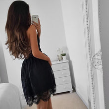 Load image into Gallery viewer, Sexy V Collar Lace Backless Strapless Fish Tail Skater Dress