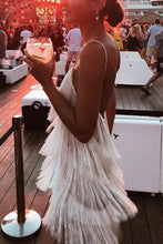 Load image into Gallery viewer, Sexy White Tassel Backless Sleeveless Mini Dress