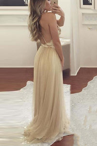 Sexy Yellow Backless Chiffon Wedding Maxi Dress