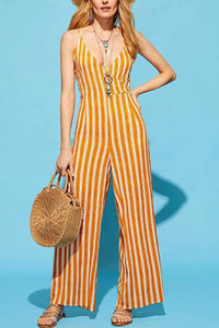 Sexy Yellow Sleeveless Stripe Jumpsuits