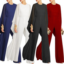 Load image into Gallery viewer, Solid Cape Sleeve Hollow Out Chiffon Wide-Leg Jumpsuit