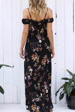 Load image into Gallery viewer, Spaghetti Strap  Cutout  Floral Printed  Short Sleeve Maxi Dresses