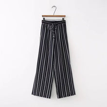 Load image into Gallery viewer, Striped Split Wide Leg Pants