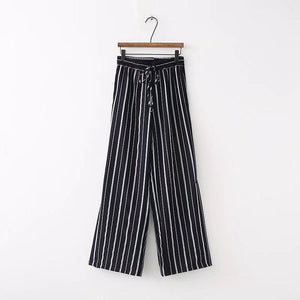 Striped Split Wide Leg Pants