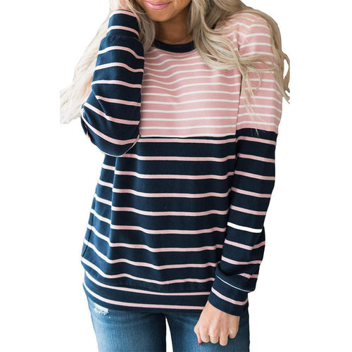 Striped Stitching Long Sleeve Hoodies