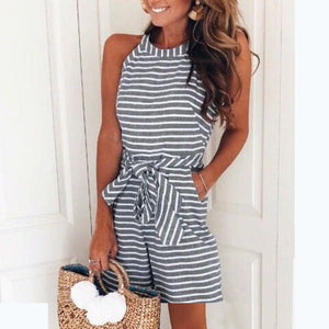 Striped Vacation Sleeveless Casual Romper