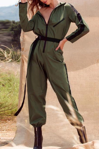 Stylish Casual Slim Color Block Zipper Long Sleeve Jumpsuit