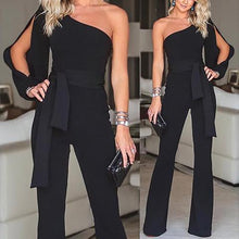 Load image into Gallery viewer, Stylish One Shoulder Slit Sleeve Black Jumpsuit