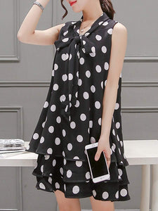 Summer Tie Collar Polka Dot Chiffon Mini Shift Dress