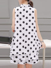 Load image into Gallery viewer, Summer Tie Collar Polka Dot Chiffon Mini Shift Dress