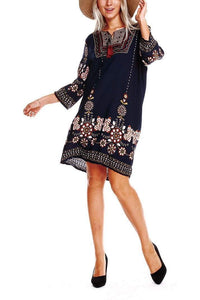 Summer Vintage Bohemia Floral Printed Shift Dress