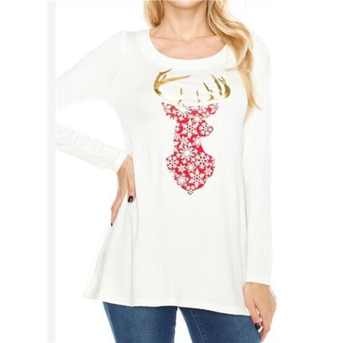 Christmas New Fashion Print Round Neck Top