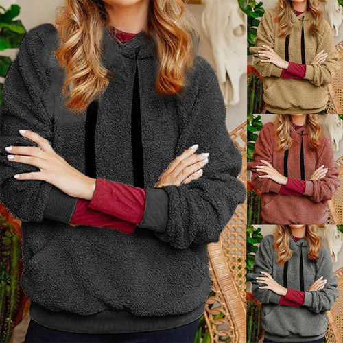Hooded Plain Lace Up Long Sleeve Casual Hoodies