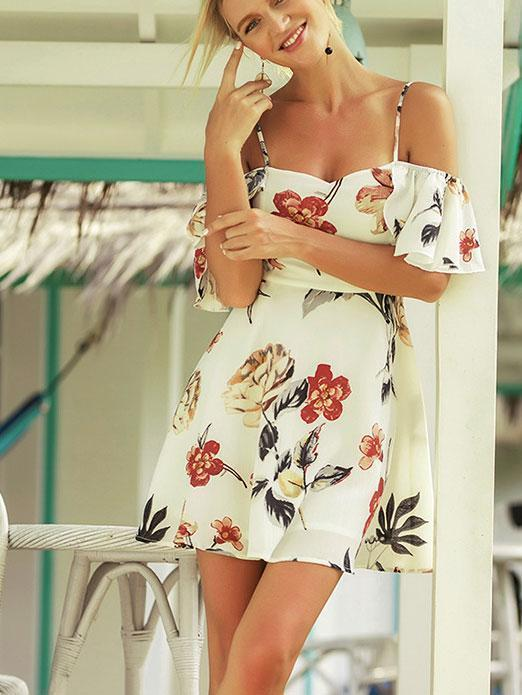 Sexy Floral Printed Vacation Dress