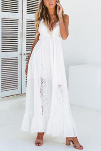 Sexy Lace Backless Vacation Maxi Dress