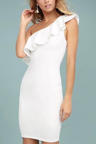 Sexy One Shoulder Plain Bodycon Dress