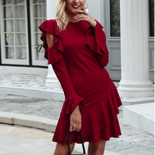 Load image into Gallery viewer, Wine Red Splicing Ruffled Dress