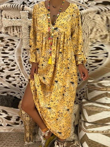 V Neck Long Sleeve Printed Maxi Dress