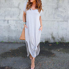 Load image into Gallery viewer, V Neck  Side Slit  Plain  Short Sleeve Maxi Dresses