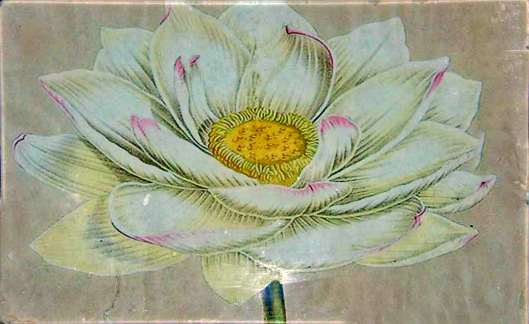 "5"" x 8"" decoupage platter featuring a hand cut lotus flower"